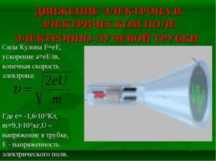 ДВИЖЕНИЕ ЭЛЕКТРОНА В ЭЛЕКТРИЧЕСКОМ ПОЛЕ ЭЛЕКТРОННО-ЛУЧЕВОЙ ТРУБКИ Сила Кулона