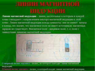 ЛИНИИ МАГНИТНОЙ ИНДУКЦИИ Линии магнитной индукции - линии, касательные к кото