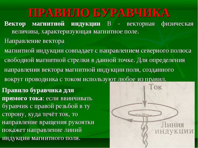 ПРАВИЛО БУРАВЧИКА Вектор магнитной индукции В - векторная физическая величина...