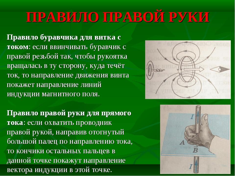 ПРАВИЛО ПРАВОЙ РУКИ Правило буравчика для витка с током: если ввинчивать бура...
