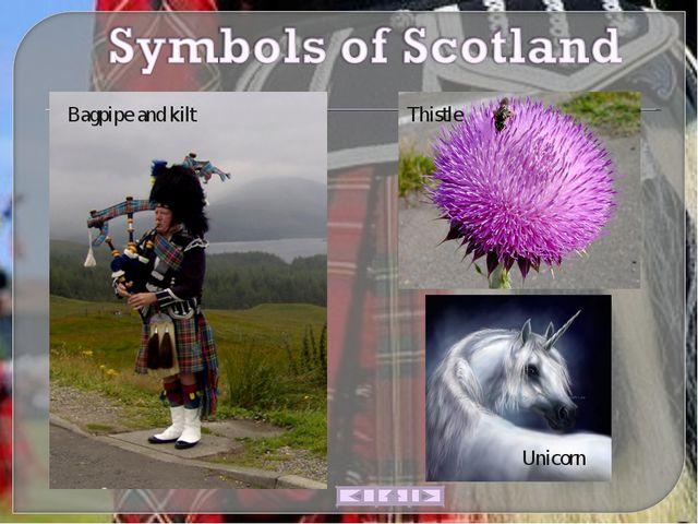 Thistle Bagpipe and kilt Unicorn