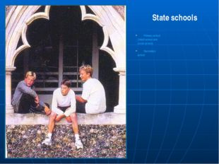 Primary school (Infant school and Junior school) Secondary school State scho