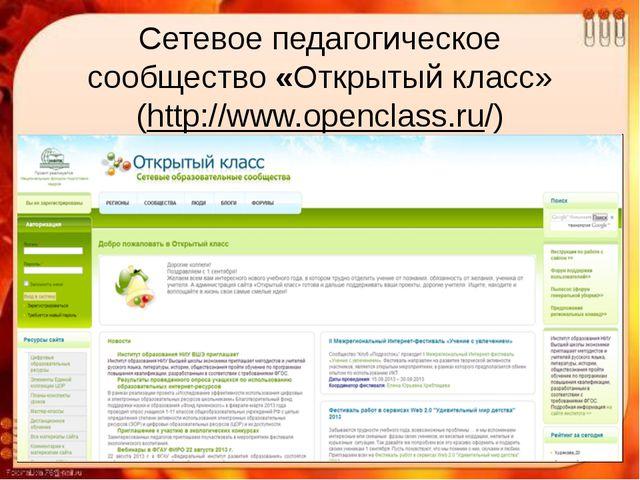 Сетевое педагогическое сообщество«Открытый класс» (http://www.openclass.ru/)