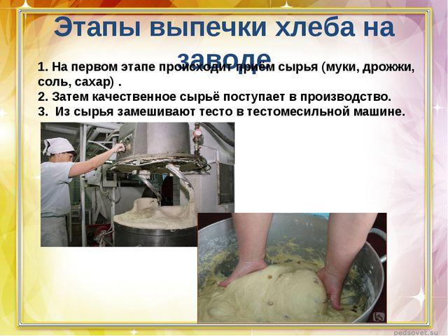 Этапы выпечки хлеба на заводе 1. На первом этапе происходит приём сырья (муки...