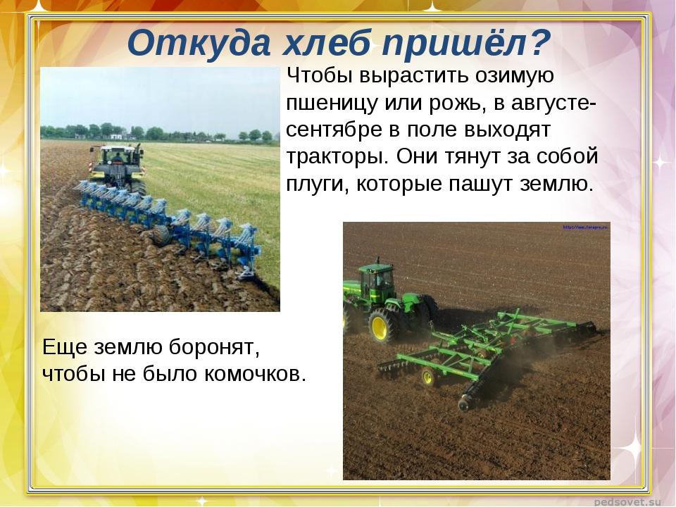 Откуда хлеб пришёл? Еще землю боронят, чтобы не было комочков. Чтобы вырастит...