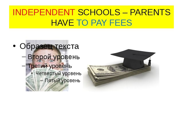 INDEPENDENT SCHOOLS – PARENTS HAVE TO PAY FEES