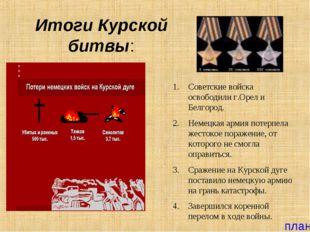 Итоги Курской битвы: Советские войска освободили г.Орел и Белгород. Немецкая