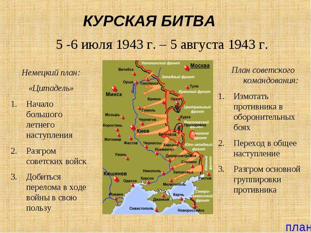 КУРСКАЯ БИТВА 5 -6 июля 1943 г. – 5 августа 1943 г. Немецкий план: «Цитадель»...