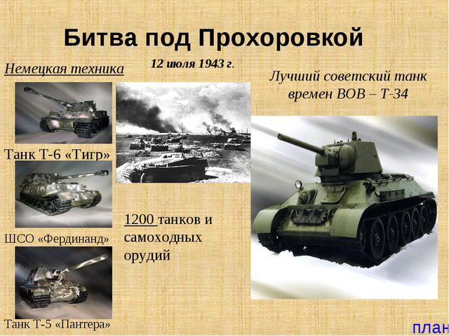 Битва под Прохоровкой Танк Т-5 «Пантера» Немецкая техника Танк Т-6 «Тигр» 12...