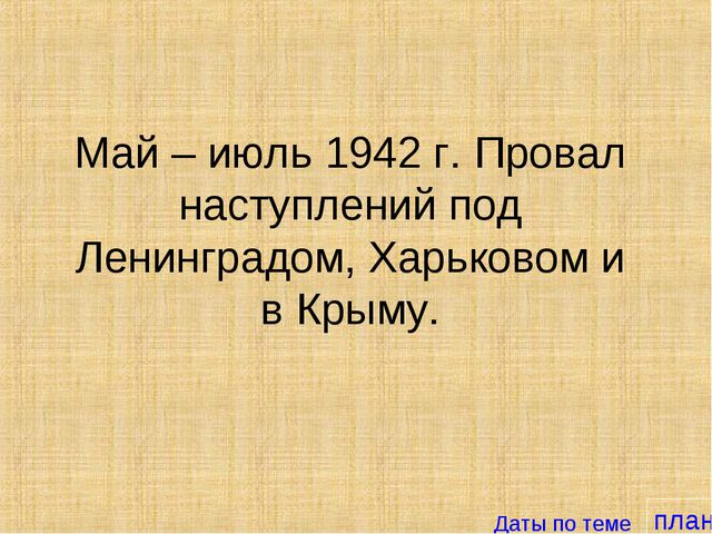план Май – июль 1942 г. Провал наступлений под Ленинградом, Харьковом и в Кры...