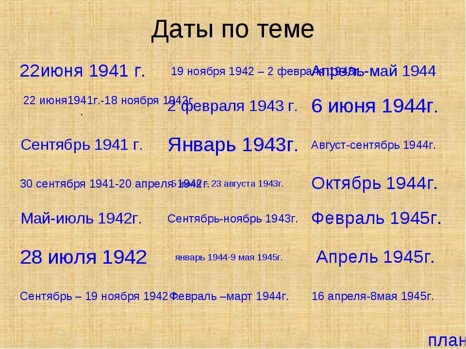 Даты по теме 22июня 1941 г. 22 июня1941г.-18 ноября 1942г. Сентябрь 1941 г. 3...