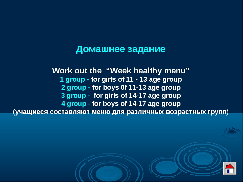 """Домашнее задание Work out the """"Week healthy menu"""" 1 group - for girls of 11 -..."""