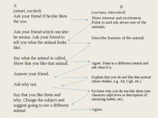 A (smart, excited) Ask your friend if he/she likes the zoo. Ask your friend w
