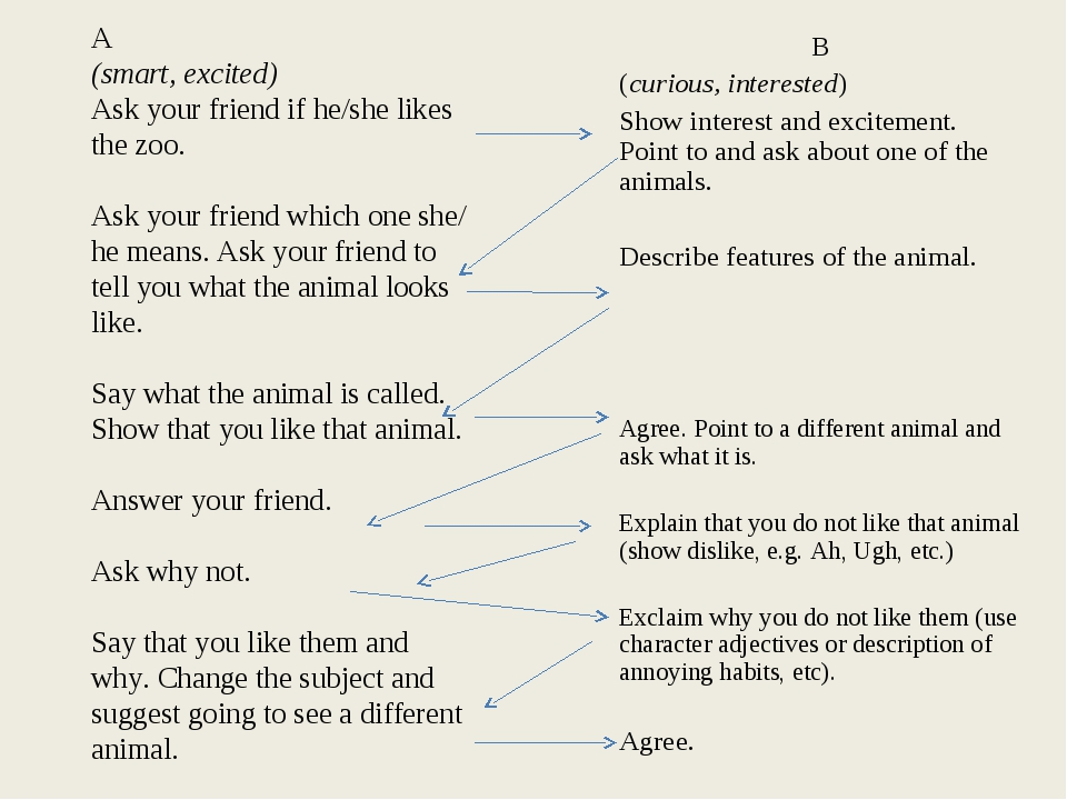 A (smart, excited) Ask your friend if he/she likes the zoo. Ask your friend w...