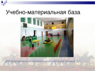 Учебно-материальная база Для проведения занятий используется большой игровой