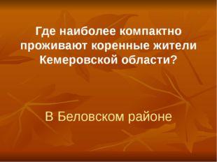 Где наиболее компактно проживают коренные жители Кемеровской области? В Белов