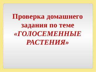 Проверка домашнего задания по теме «ГОЛОСЕМЕННЫЕ РАСТЕНИЯ»