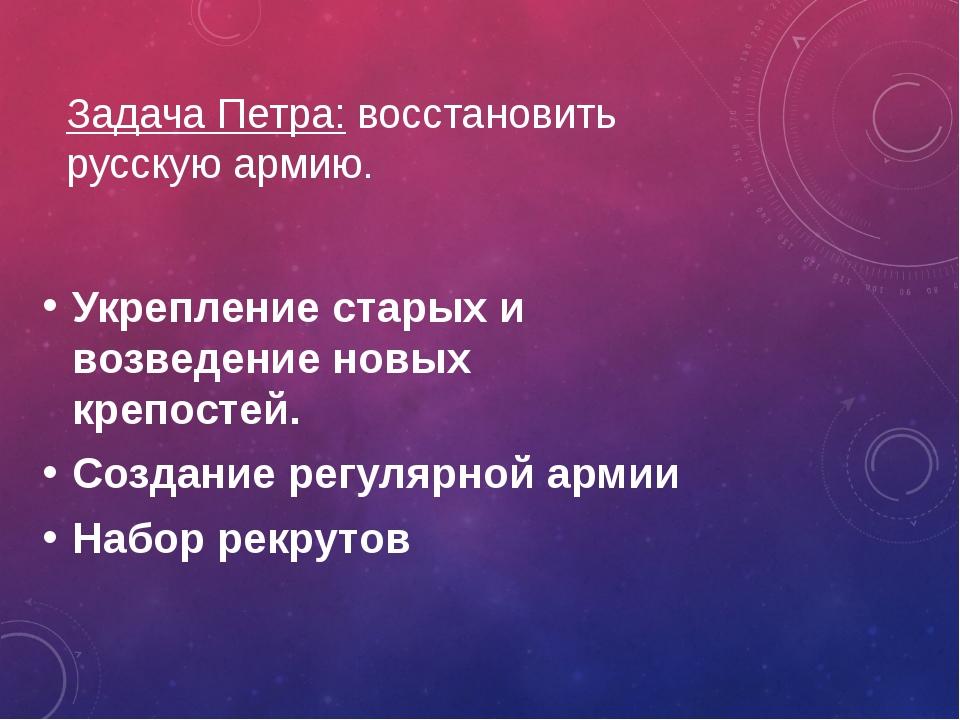 Задача Петра: восстановить русскую армию. Укрепление старых и возведение новы...
