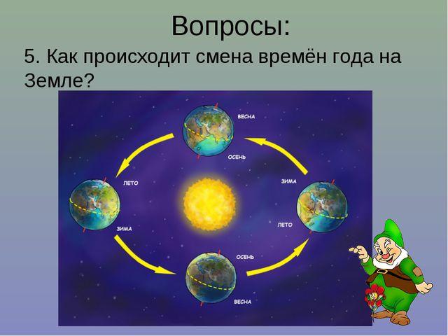 Вопросы: 5. Как происходит смена времён года на Земле?