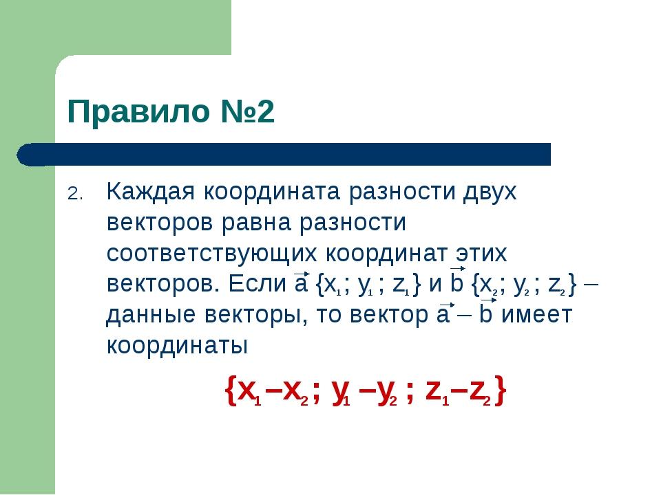 Правило №2 Каждая координата разности двух векторов равна разности соответств...