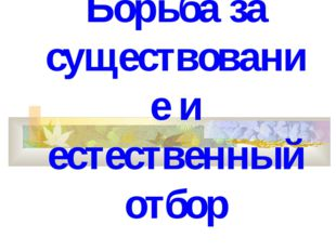 Борьба за существование и естественный отбор Воронежская обл. Терновский райо