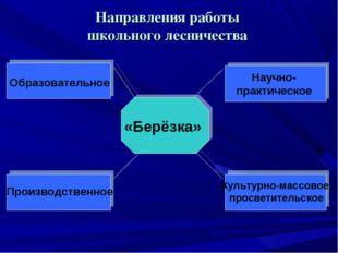 Направления работы школьного лесничества «Берёзка» Образовательное Научно- пр