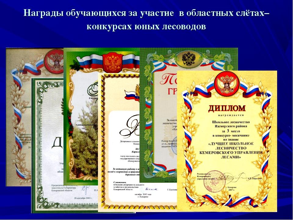 Награды обучающихся за участие в областных слётах–конкурсах юных лесоводов
