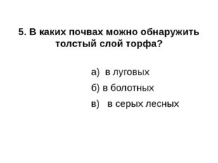 5. В каких почвах можно обнаружить толстый слой торфа? а) в луговых б) в боло