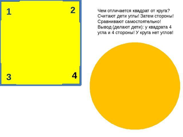 1 2 4 3 Чем отличается квадрат от круга? Считают дети углы! Затем стороны! С...