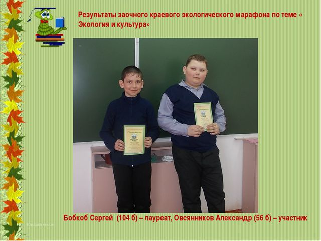 Бобкоб Сергей (104 б) – лауреат, Овсянников Александр (56 б) – участник Резу...