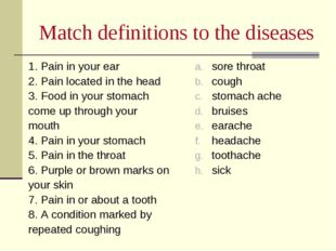 Match definitions to the diseases 1. Pain in your ear 2. Pain located in the