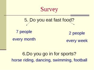 Survey 5. Do you eat fast food? 6.Do you go in for sports? horse riding, danc