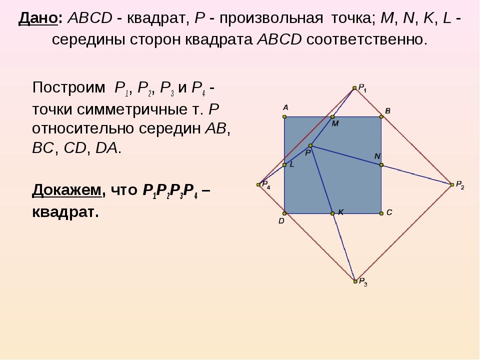 Дано: ABCD - квадрат, P - произвольная точка; M, N, K, L - середины сторон кв...