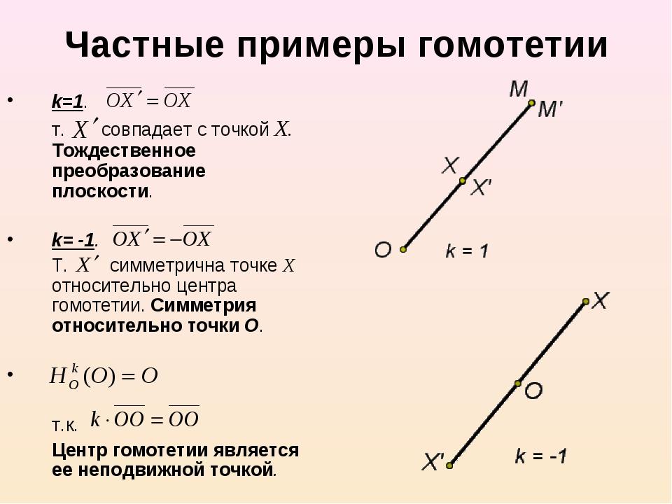 Частные примеры гомотетии k=1. т. совпадает с точкой Х. Тождественное преобр...