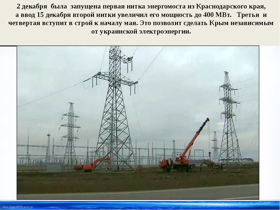 2 декабря была запущена первая нитка энергомоста изКраснодарского края, авв...
