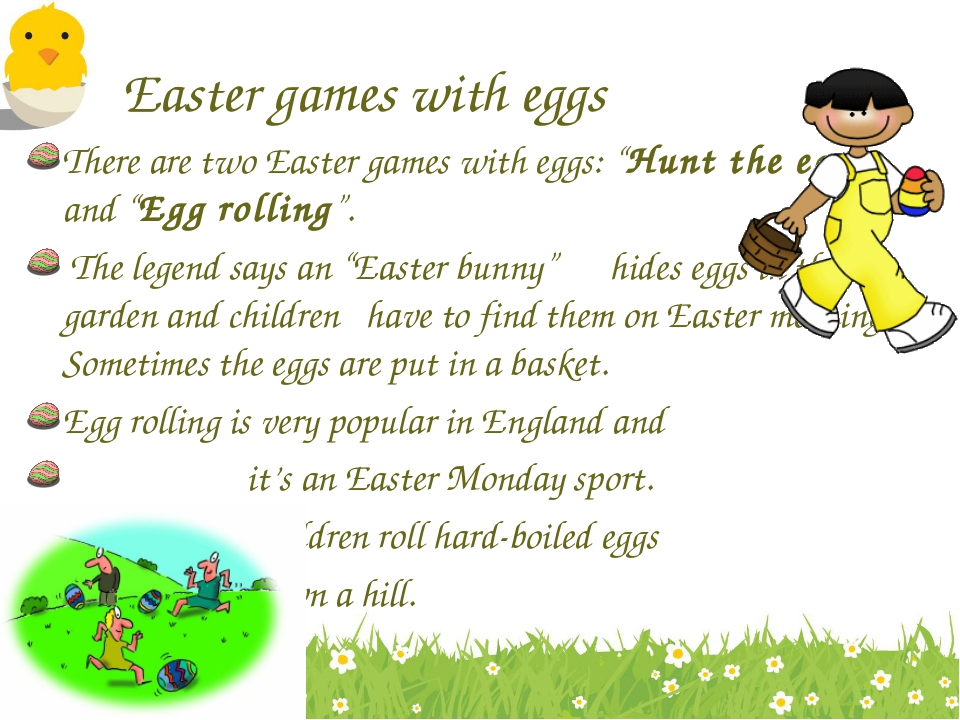 """Easter games with eggs There are two Easter games with eggs: """"Hunt the egg"""" a..."""