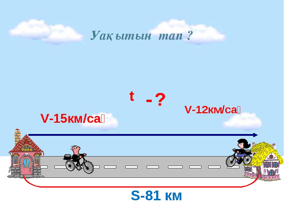 Уақытын тап ? S-81 км t V-15км/сағ -? V-12км/сағ