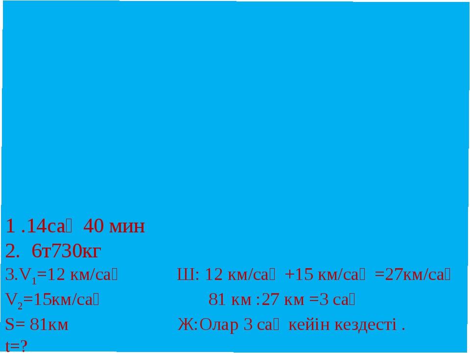 1 .14сағ 40 мин 2. 6т730кг 3.V1=12 км/сағ Ш: 12 км/сағ +15 км/сағ =27км/сағ...