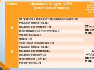КлассНазвание модуля ФМН (количество часов)Общее количество модулей на пара