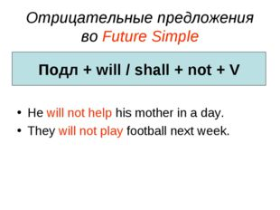 Отрицательные предложения во Future Simple He will not help his mother in a d