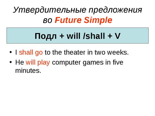 Утвердительные предложения во Future Simple I shall go to the theater in two...