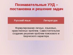 Познавательные УУД – постановка и решение задач Русский язык Литература Форму