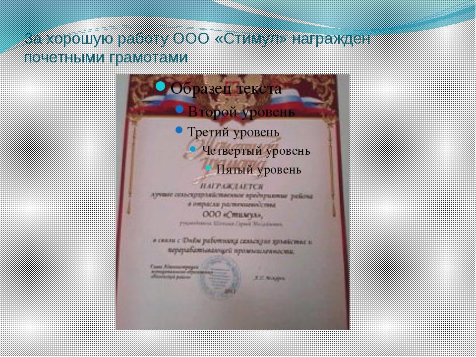 За хорошую работу ООО «Стимул» награжден почетными грамотами