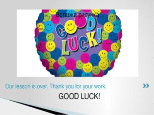 GOOD LUCK! Our lesson is over. Thank you for your work.
