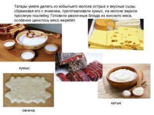 Татары умели делать из кобыльего молока острые и вкусные сыры, сбраживая его