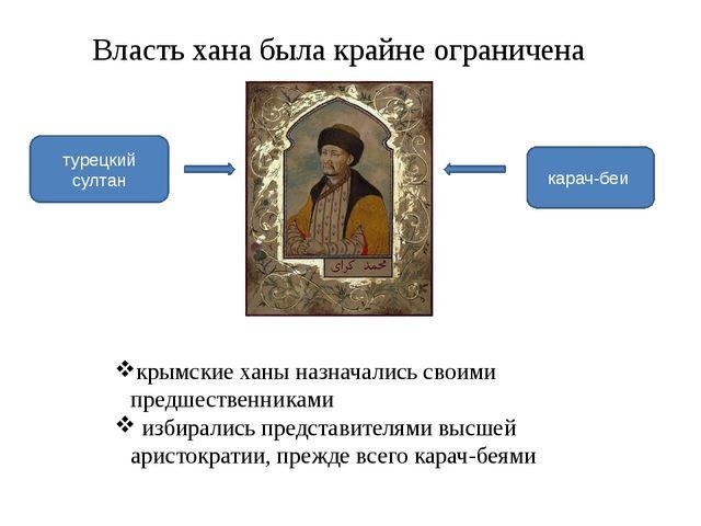 Власть хана была крайне ограничена крымские ханы назначались своими предшеств...