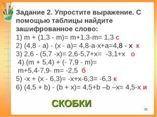 * Задание 2.Упростите выражение. С помощью таблицы найдите зашифрованное сло
