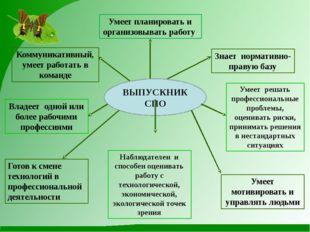 ВЫПУСКНИК СПО Коммуникативный, умеет работать в команде Знает нормативно-прав