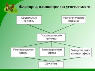 Факторы, влияющие на успеваемость Социальные причины Физиологические причины