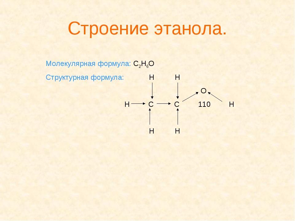 Строение этанола. Молекулярная формула: С2Н6О Структурная формула: Н Н О Н С...